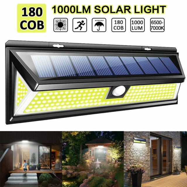 180 COB LED PIR Motion Sensor Solar Power Wall Light Outdoor Waterproof 1000LM