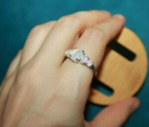 Details about  /fire opal Cz ring gemstone silver jewelry 5 8.25 9 evening wedding cocktail band