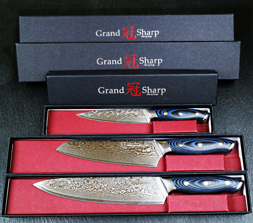 Chef Santoku Utility Knives 67 layers Damascus Damascus Damascus Steel Knife Set Wooden Handle 3Pc ae3ee2