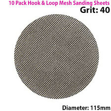 10x 40 Grit Silicon Carbide Mesh 115mm Round Sanding Discs –Hook & Loop Backing