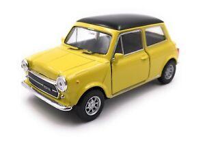 Modellino-Auto-Mini-Cooper-1300-Oldtimer-Giallo-Auto-Scala-1-3-4-39-Licenza