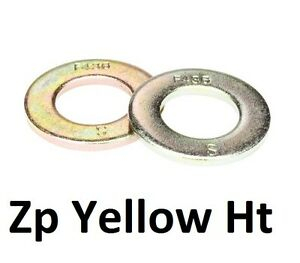 "Qty 30 Sampson High Tensile Washer 7/16"" Zinc Yellow Flat HT Grade 8 F436M ZY"
