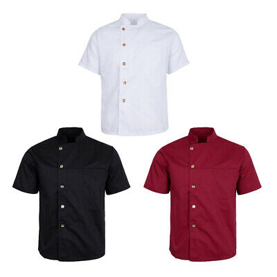 Stand Collar Short Sleeve Solid Color Chef Coat Uniform for Men and Women