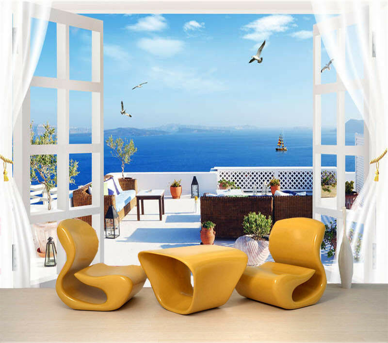 Simple Seaview 3D Full Wall Mural Photo Wallpaper Printing Home Kids Decoration