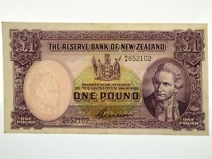 New-Zealand-1955-56-One-Pound-G-Wilson-Banknote-in-VF-Condition