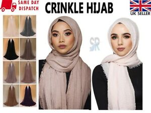 New Ladies Crinkle Plain Hijab Maxi Scarf Headscarf Crimp Shawl Ruffle Pashmina