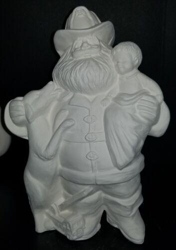 Fireman Santa w// Dalmation Dog Unpainted Ceramic Bisque Ready To Paint