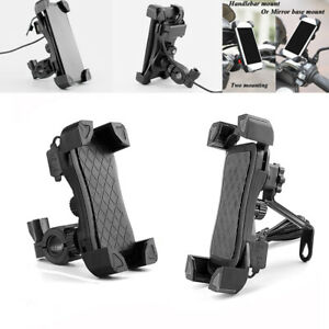 Universal-Motorcycle-Mobile-Phone-Holder-Motorbike-Grip-Clamp-Mount-w-USB-Charge