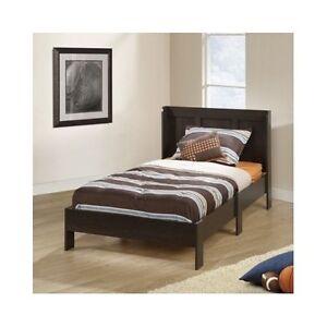 kids twin platform bed frame wood headboard bedroom