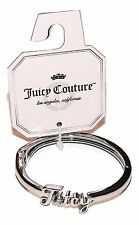 Juicy Couture Silver Tone Bangle Bracelet 8-Inch Simulated Crystals NEW $30