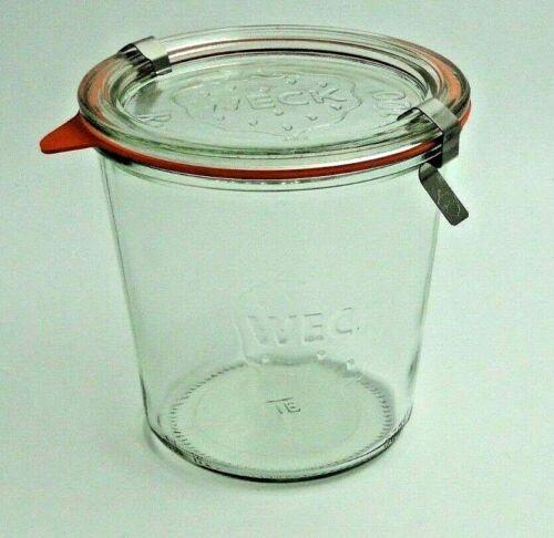 WECKglas 742 STURZ FORM 580 ml 1//2L mit Glasdeckel,Ring u  Klammer RR100   WECK