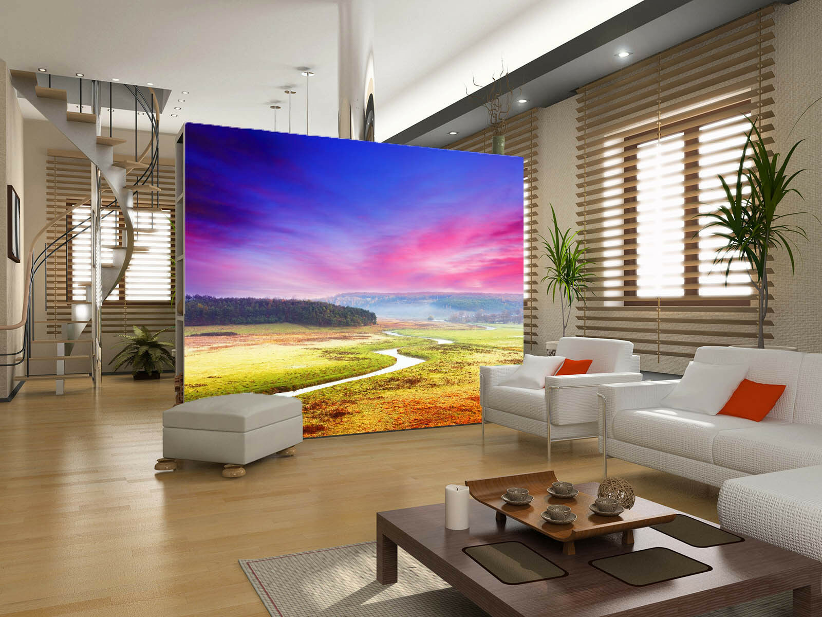 3D Sunset River Grassland Paper Wall Print Wall Decal Wall Deco Indoor Murals