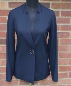 Jaeger-Blue-Tailored-Wool-Blended-Blazers-Jacket-For-Women-Size-6-10-12-14