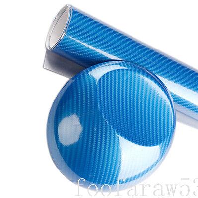 "18""x60"" 5D blue Ultra Shiny Gloss Glossy Carbon Fiber Vinyl Wrap Sticker Decal"
