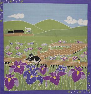 Furoshiki-Wrapping-Cloth-Japanese-Cat-Fabric-039-Tama-in-the-Irises-039-Cotton-50cm
