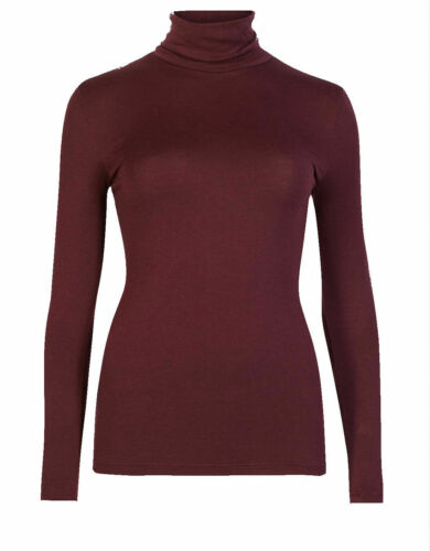 LADIES EX FAMOUS STORES THERMAL HEATGEN POLO ROLL TURTLE NECK LONG SLEEVE TOP