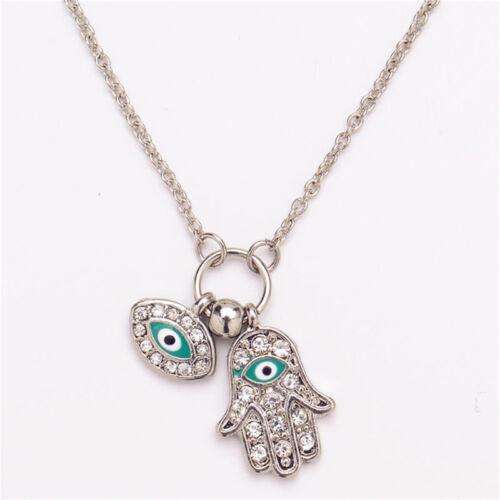 Fatima Hamsa Hand Turkey Blue Evil Eye Necklace Charm Pendant Jewish Jewelry JKH