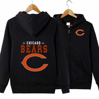 Winter Thicken Hoodie Chicago Bears Football Sweatshirt warm Coat Zipper Jacket