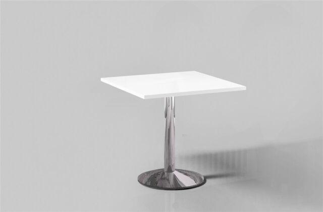 Esstisch Hochglanz Weiss quadratisch 80x80 Chrom Küchentisch Bistrotisch 80x80cm