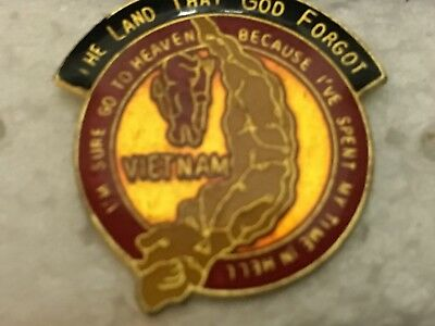 """Collectibles U S Military Lapel Pin """"vietnam"""" The Land That God Forgot"""