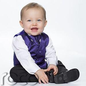 Bebé Niños Púrpura Y Negro Chaleco Traje, página Boy Trajes, Diamante Chaleco  </span>