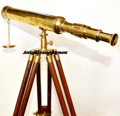"""Details about  /Nautical Brass Antique Master Telescope with Wooden Tripod Stand Collectible 18/"""""""