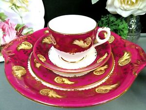 Antique-1840-039-s-RIDGWAY-tea-cup-and-saucer-saucer-cake-plate-red-amp-gold-set