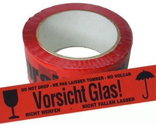 0,71€//1 Rolle 108 ROLLEN PACKBAND KLEBEBAND VORSICHT GLAS NEU