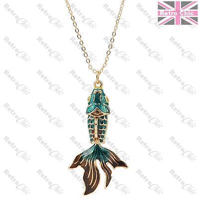 "2"" WIGGLE FISH koi carp pendant NECKLACE green/aqua/brown ENAMEL gold pltd chain"