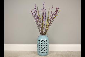 29cm Teal Blue Speckle Ceramic Flower Holder Vase Lantern Ornament Hanging