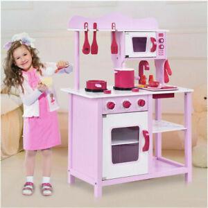 Wood Kitchen Toy Kids Cooking Pretend
