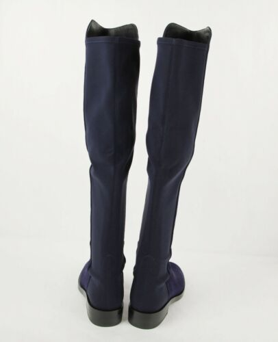 Stuart Weitzman Women/'s Keelan Dark Blue Suede just-over-the-knee Boots w//Logo
