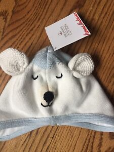 New Hanna Andersson Childrens Hat Warm Soft Critter Polar Bear SM 1-3 Years