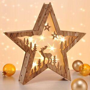 Fenster Weihnachtsdeko.Led Holz Stern Adventsstern Weihnachtsstern Beleuchtet Fenster