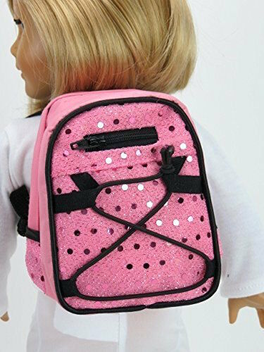 "Pink Sequin School Backpack fits American Girl Dolls or 18/"" Dolls KNC too!"