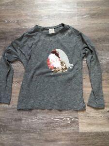 Zara-Girls-T-shirt-Manches-Longues-Gris-Fille-8-Ans-128-Cm