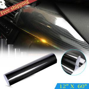5D Waterproof Shiny Glossy Black Carbon Fiber Vinyl Wrap Sticker Decal