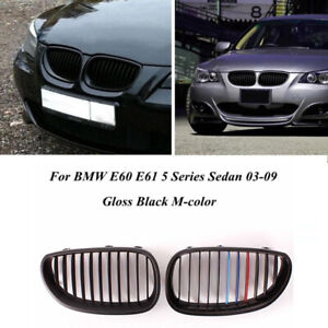 Gloss-Black-M-Color-Front-Hood-Kidney-Grille-Grill-For-BMW-E60-E61-M5-2003-2010