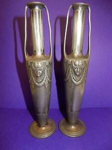 Vintage-Pair-Orivit-Jugendstil-Art-Nouveau-Twin-Handled-Pewter-Vases