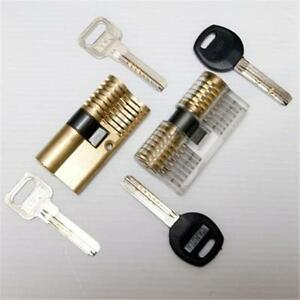 New-Profassional-Cutaway-Practice-Locksmith-Tool-Cylinder-Lock-with-Two-Keys-At8