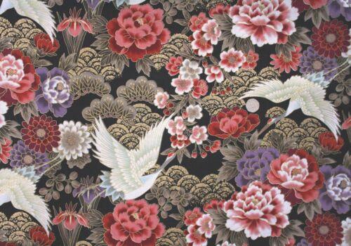 Oriental Cranes /& flowers on Black//Gold fabric fq 50x 56cm 69610-103 100/% Cotton