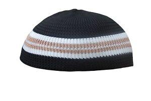 1869888e374 TheKufi Black with Brown   White - single line Nylon Kufi Prayer Cap ...