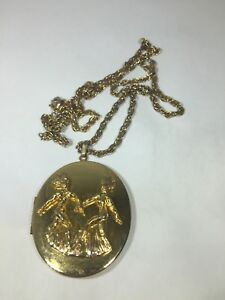"Details about Vintage 24"" ERWIN PEARL Necklace & Locket Pendant Gold Tone  RARE"