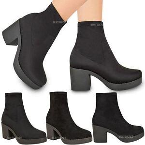 587b044ac10c Womens Ladies Chunky Low Mid Block Heel Chelsea Ankle Boots Platform ...