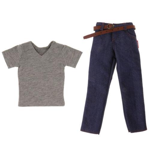 1//6 männlich Kurzarm und Jeans Hose mit Gürtel für 12 /'/' Action Figur
