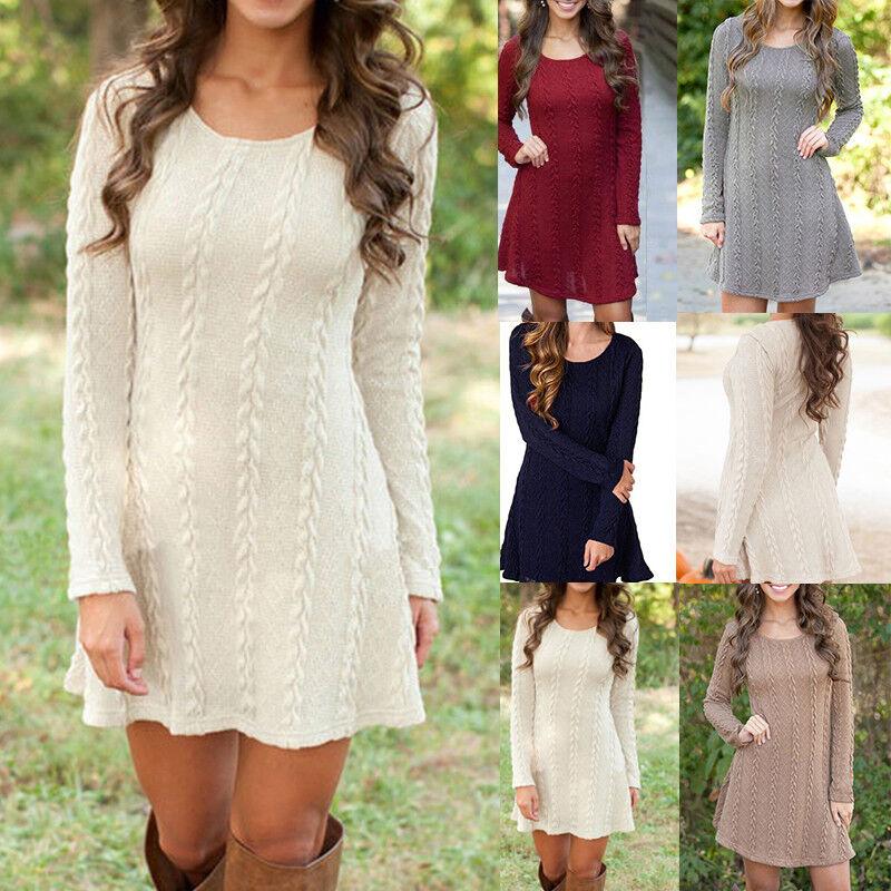 Women Cable Knitted Sweater Dress Long Sleeve Sweatshirt Blo