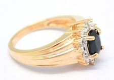 Saphir  Diamanten  Ring  Größe  52 Sterlingsilber  925  Silber  Vergoldet