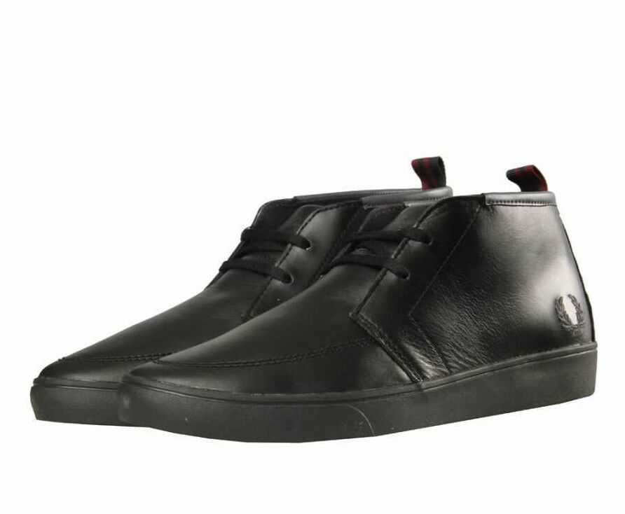 Fred Perry Men's Shields Mid Leather Shoes Trainers B9150-102 - Black