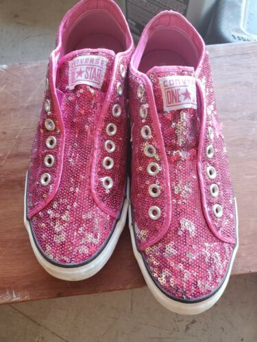 Converse One Star Pink Sequin Laceless Slip On Low