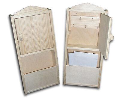 New Unpainted Wooden Key Cabinet + letter rack  Home Decoration -18cmx41cmx6cm